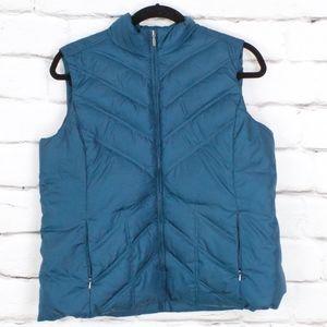 Eddie Bauer Teal Blue Premium Down Vest Size XXL